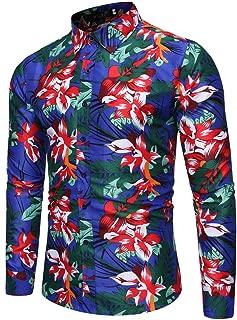 MmNote Men's Slim Fit Floral Printed Shirt Short Sleeve Casual Button Down Dress Shirts Beach Hawaiian Casual Aloha Shirt