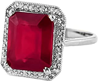 Beautiful 4.7 Carat 18K White Gold Emerald Cut Octagon Shape Ruby Halo Design with Natural Diamond Ring
