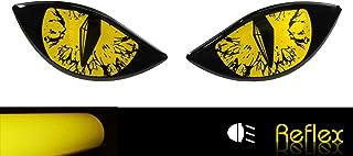 BIKE label 910066VA Reflektor Aufkleber 3D Böse Augen Auto Motorrad Helm gelb