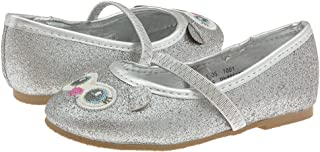 Capelli New York Glitter Faux Leather Toddler Girls Flat with Owl Face & Glitter