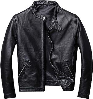 ライダース ジャケット メンズ 本革 牛革 黒ブラックシングル バイクジャケットミリタリージャケット レザージャケット 立て襟ブルゾンダブルライダース MA-1 Gジャン (M)