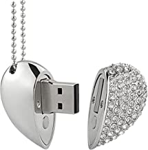 WooTeck 32GB Crystal Loving Heart Shape Jewelry USB Flash Drive Memory Stick with Necklace,Silver