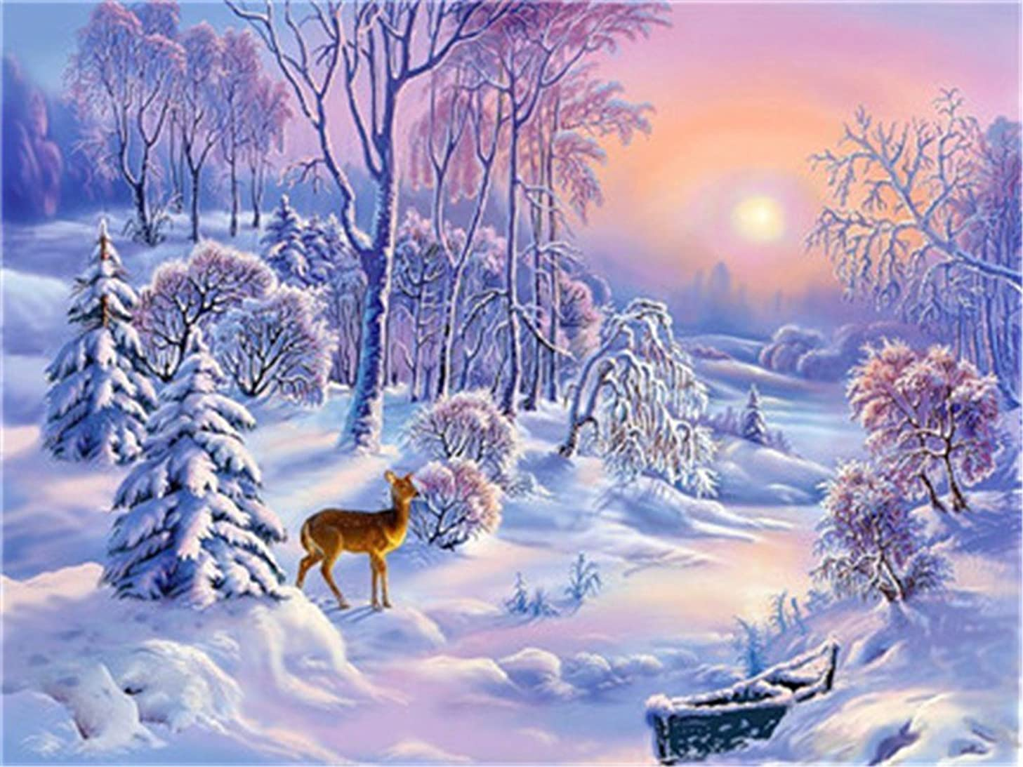 Diy Oil Paint by Number Kit for Adults Beginner 16x20 inch - Little Elk Snow Scene, Drawing with Brushes Christmas Decor Decorations Gifts (Without Frame)