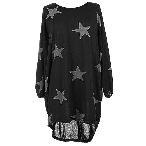 16f47ad3207 Zaif & Hari Italian Womens Ladies Batwing Stars Print High Low Hem Lagenlook  Fine Knitted Baggy