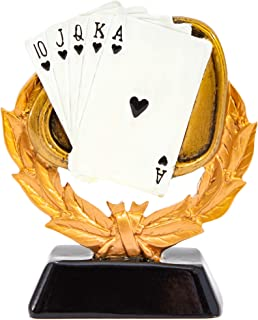 Juvale Personalized Poker Playing Cards Trophy (5 in, Gold, Resin)