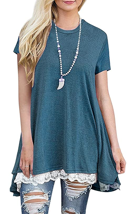 Womens Plus Size Short Sleeve A-Line Flowy Tunic Tops Lace Trim Shirt Blouse
