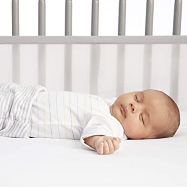"""AirflowBaby Essential Mesh Crib Liner- White, 9"""" High, Fits Four-Sided Slatted and Solid Back Cribs"""