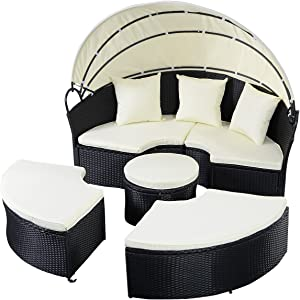 HAPPYGRILL Patio Furniture Set Outdoor Wicker Rattan Conversation Sofa Set with Retractable Canopy Sectional Sofa Daybed with Cushions for Patio Lawn Garden Backyard Porch Poolside