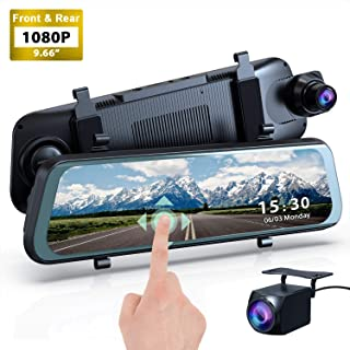 Mirror Dash Cam, 1080P HD 9.66 Streaming Media Full Touch Screen Car Camera Featured with 170° Front Camera, 160° Rear Camera, Night Vision, G-Sensor, WDR, Parking Monitor and Assist,