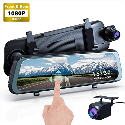 """$92 Get Mirror Dash Cam, 1080P HD 9.66"""" Streaming Media Full Touch Screen Car Camera Featured with 170° Front Camera, 160° Rear Camera, Night Vision, G-Sensor, WDR, Parking Monitor and Assist"""