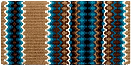 Mayatex Inc 40 x 34 in Gemini Wool Saddle Blanket Tan/Turq/BRN 40X34