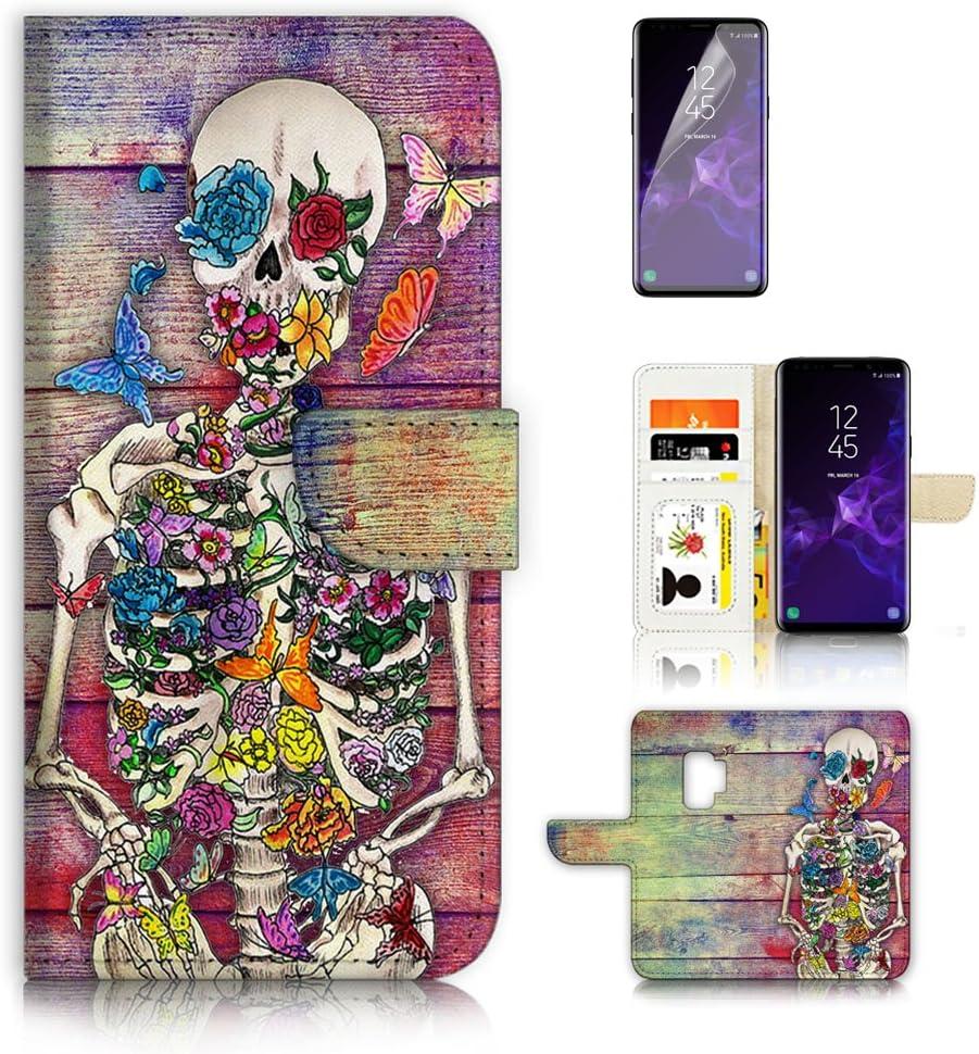 (for Samsung Galaxy S9) Flip Wallet Case Cover & Screen Protector Bundle - A20325 Sugar Skull