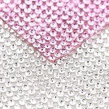 240X400mm Crystal Rhinestone Trim Hotfix Strass Crystal Mesh Banding Bridal Beaded Applique in Sheet for Dresses with 2mm Rhinestones 2pcs(Crystal+Pink)
