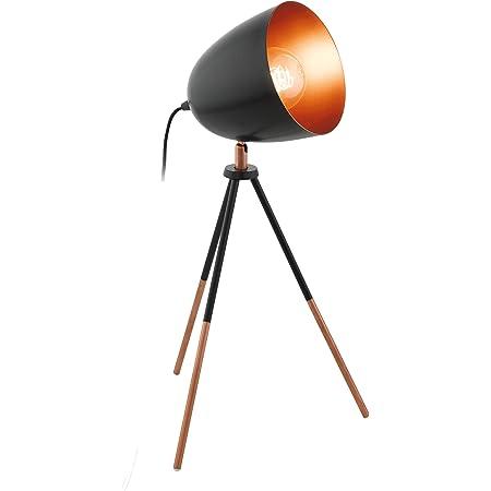 EGLO Lampe de Table à Trois Pieds Chester, Lampe à Poser Vintage à Flamme, Lampe de Chevet en Acier et en Tissu, Couleur : Noir, Cuivre, Douille : E27, Interrupteur Inclus