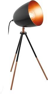 EGLO Lampe de Table à Trois Pieds Chester, Lampe à Poser Vintage à Flamme, Lampe de Chevet en Acier et en Tissu, Couleur :...