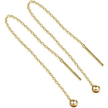 S.Leaf Gold Earrings for Women Threader Earrings Sterling Silver Chain Tassel Earrings