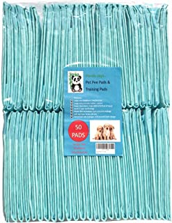 Pet Pee Disposable Training Pads for Puppies, Older, Sick and Indoor Dogs Heavy Duty Large 24in Super Absorbent 13.5 floz 50 Pack. Many uses.
