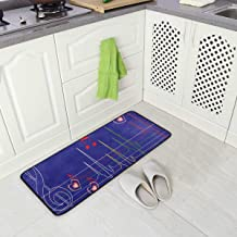 Abstract Musical Notes Oversized Chef Antifatigue Kitchen Mats Kitchen Mat Standing Mat Waterproof Nonslip Cushioned Rugs for Office Computer Desk 39 x 20 Inches
