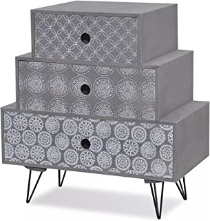 Bedside Cabinet With 3 Drawers - Grey