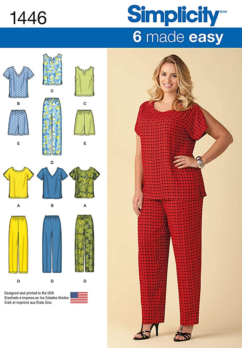 Simplicity 1446 Easy to Sew Women's Shirt, Pants, and Shorts Sewing Patterns, Sizes 18W-24W