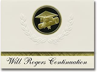 Signature Announcements Will Rogers Continuation (Van Nuys, CA) Graduation Announcements, Presidential style, Elite package of 25 Cap & Diploma Seal. Black & Gold.