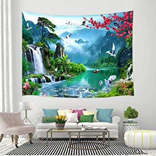Fantasy Fairy Tale World Tapestry Fog Mountain Waterfall Pine Trees, Blooming Red Flower Cherry Blossom with Romantic Birds Decor Wall Hanging Tapestry Blanket for Bedroom Living Room Dorm 60X40inch