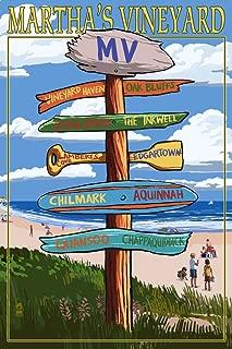 Martha's Vineyard, Massachusetts - Destinations Sign (16x24 Giclee Gallery Print, Wall Decor Travel Poster)
