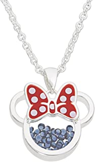 Disney Birthstone Women and Girls Jewelry Minnie Mouse Silver Plated Shaker Pendant Necklace, 18+2
