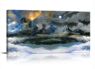 LKY ART Wall Art Blue Wall Art Very Unique Style Design Modern Blue Abstract Canvas Art Canvas Print Sunrise Moon Mountain Grey Contemporary Painting Landscape Picture for Living Room Decor 20x40Inch