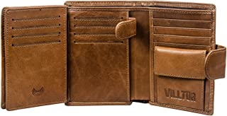 RFID Blocking Leather Wallet for Men- Multi Card W/snap Closure Genuine Oil Wax Leather
