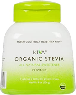 Kiva Organic Stevia Powder (Natural Sweetener - 398 SERVINGS) - Non-GMO, Vegan, Zero-Calories- (Sugar Free, NO AFTERTASTE ...