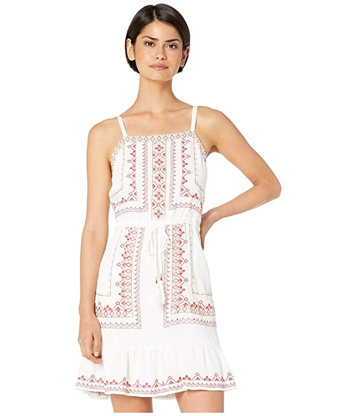 Miss Me Embroidered Tie-Waist Dress with Ruffled Hem
