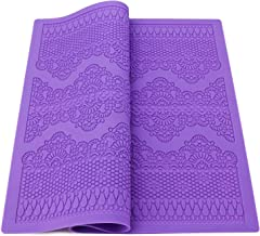Lace Mold for Cake Decorating, Beasea Silicone Lace Mat for Cakes Fondant Impression Flower Pattern Molds Embossed Craft Tools Purple