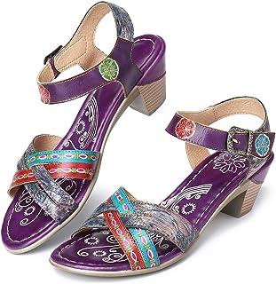 a4d522208470e3 Gracosy Sandales Talons Cuir Femmes, Chaussures de Ville Été Bride Cheville Nu  Pieds à Talons