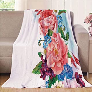 Blanket Comfort Warmth Soft Air Conditioning Easy Care Machine Wash House,Flower Decor,Leaves with Branch Roses Daisies and Lilacs Plants Nature Theme Art Print,Multicolor,47.25