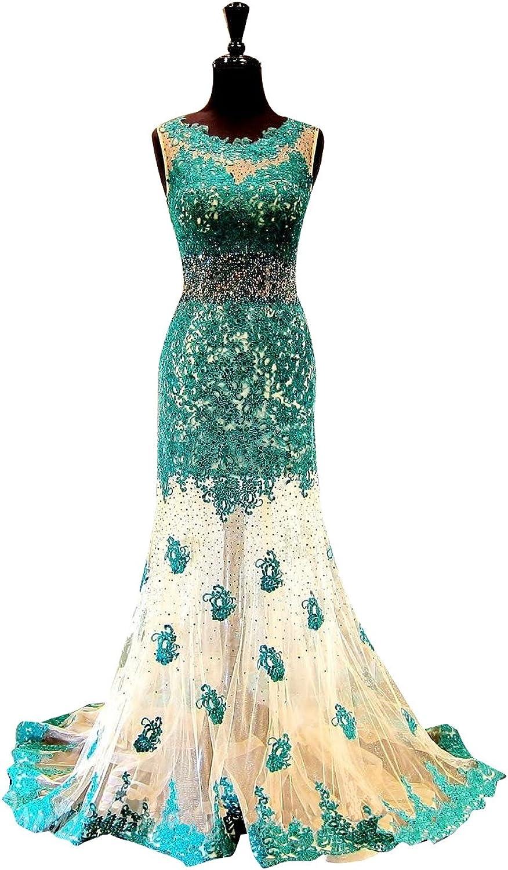 LISA.MOON Women's Jewel Mermaid Sleeveless Sheer Tulle Sweep Train Prom Dress