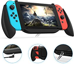 Charging Grip Case for Nintendo Switch, Vivefox Ergonomic Switch Charging Case Quick Charge Compatible 5V 2A Protective Case for Nintendo Switch Charge and Play Kit 2019 Latest Version (Frosted-black)