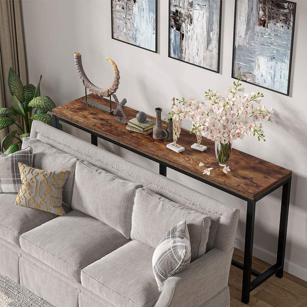 Tribesigns 20.20 inch Extra Long Sofa Table, Rustic Console Table Behind  Sofa Couch, Narrow Long Entryway Table Industrial Skinny Hallway Table for  ...
