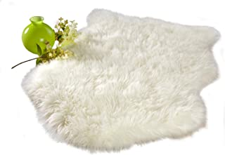 Chesserfeld Luxury Faux Fur Sheepskin Rug, Ivory White, 2ft x 3ft with Thick Pile, Machine Washable, Makes a Soft, Stylish Home Décor Accent for a Kid's Room, Bedroom, Nursery, Living Room or Bath