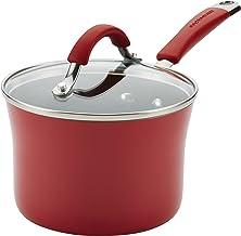 كسرولة كوتشينا غير لاصق مع غطاء من رايتشيل راي 16801، 2.4 لتر، أحمر