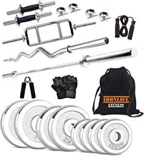 Iron Life Fitness Steel 30 Kg Weight Plates, 5 and 3 ft Rod, 2 D.Rods Home Gym Equpments Dumbbell Set with Egg Rod