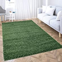 carpet city Hoogpolig tapijt woonkamer effen kleur - groen - 200x200 cm vierkant - Shaggy langpolig Uni slaapkamer - zacht...