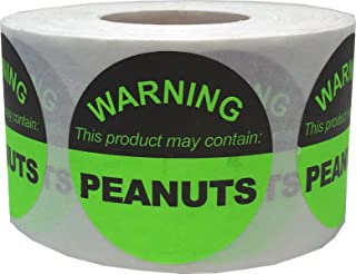 Food Allergy Warning Labels This Product May Contain Peanuts 1.5 Inch Round Circle Dots 500 Adhesive Stickers