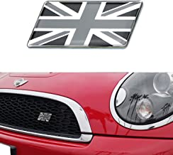 iJDMTOY Black/White Union Jack Flag Emblem Badge with L Shaped Mounting Bracket Fit Car Front Grille For MINI, Jaguar, Land Rover, etc