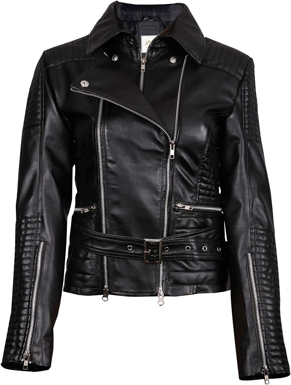 Pelletteria Factory Miyano Black Biker Womens Faux Leather Jacket - Black Biker Faux Leather Jacket