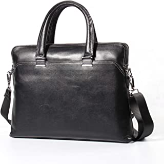 Shoulder Bags Leather Men's Business Tote First Layer Cowhide Square Large Capacity Fine Grain Leather Briefcase 8L Casual Men's Bag Laptop Work Bag Black Messenger Bag