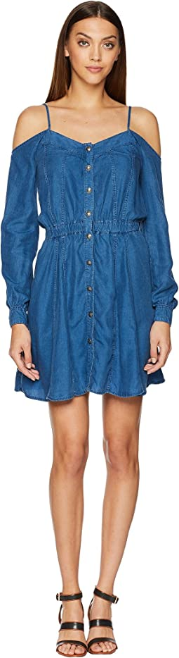 The Kooples Lyocel Denim Dress with Bare Shoulders and Splits Details