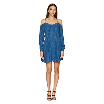 The Kooples Lyocel Denim Dress with Bare Shoulders and Splits Details (Blue) Women