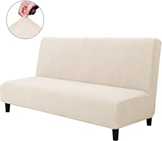 CHUN YI Armless Sofa Slipcover Elastic Fitted Full Folding Sofa Bed Cover Without Armrests,Removable Machine Washable Non-Slip Furniture Protector for Futon Couch Bench (Sofa, Ivory White)
