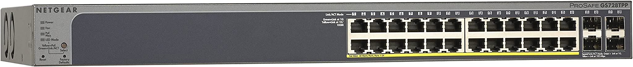 NETGEAR GS728TPP-100NAS 24-Port Gigabit Ethernet Smart Managed Pro Switch, PoE/PoE+, 384w, 4 SFP+, ProSAFE Lifetime Protection (GS728TPP)